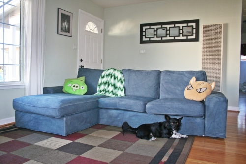 finished couch, towards the front door and hallway