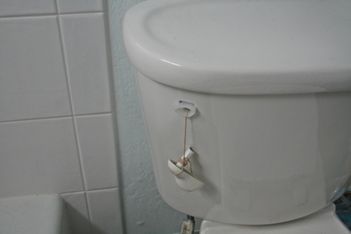 Poor broken toilet handle