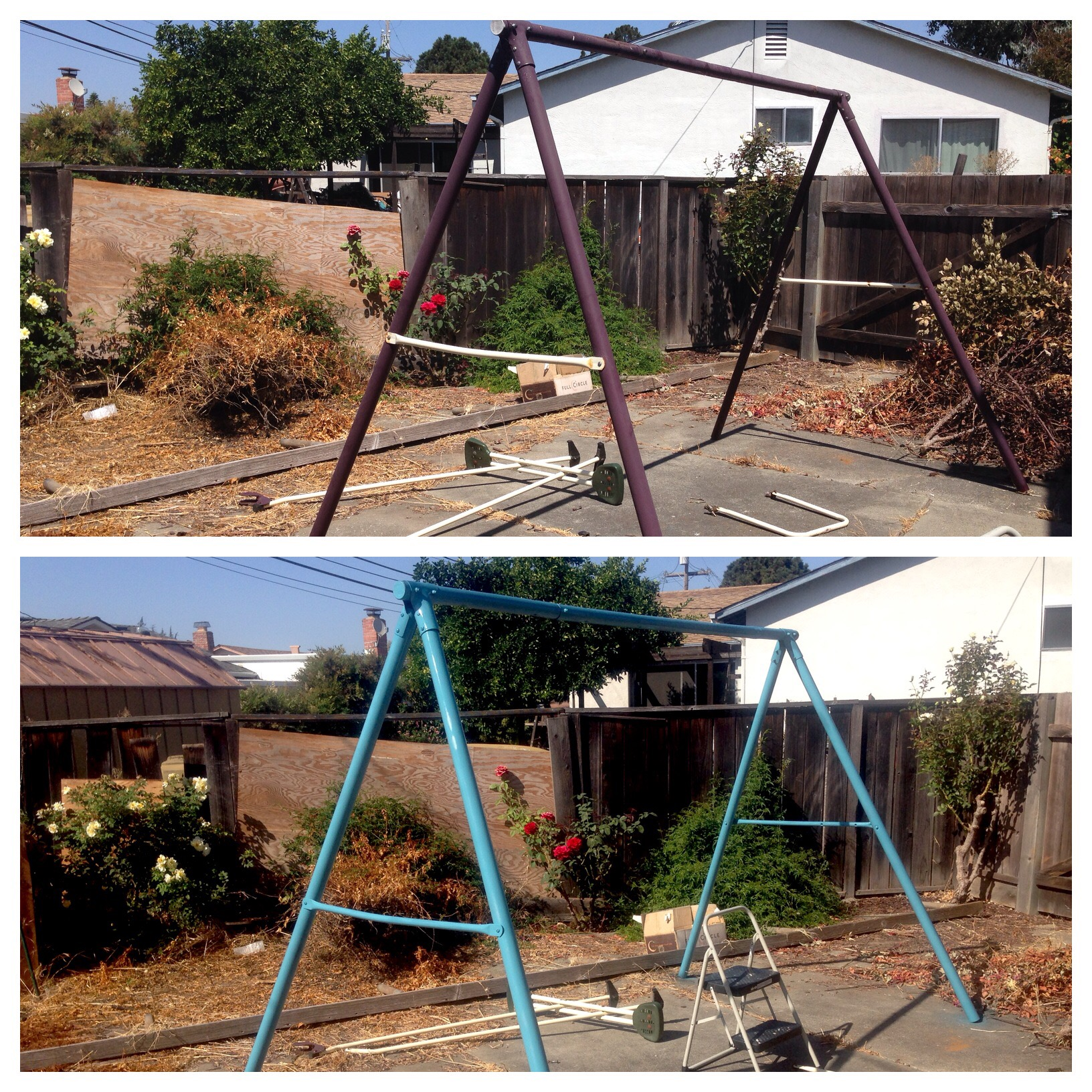 Breathing new life into an old swing set the letter k for Swing set frame only